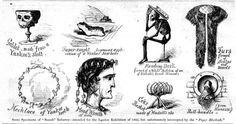 """Published in """"Harper's Weekly"""" in 1862, this engraving was entitled """"Some Specimens of the Secesh Industry"""" and depicted a """"Yankee skull"""" goblet, a necklace of Yankee teeth, and other Yankee-bone items. Click image to see larger view. (From """"Liar, Temptress, Soldier, Spy"""")"""