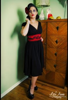 Soutache Dress in Black with Red Contrast Trim