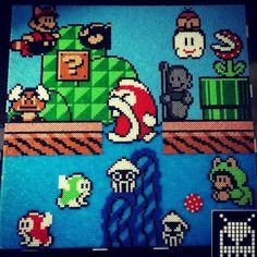 Mario scene perler beads by voxelperlers