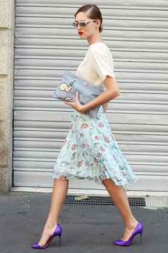 purple heels purse sunglasses white blouse blue skirt apparel fashion clothing women outfit style cyan summer street