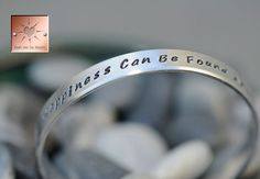 Personalized Hand Stamped Bracelet -  Custom Narrow Aluminum Cuff - Made to Order. $13.00, via Etsy.
