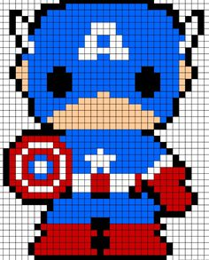 Cute perler bead captain America