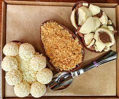 Trio de ovos recheados com brigadeiro, sabores a escolher. R$ 70, da Doce Ventura www.doceventura.com