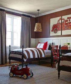 Boys Bedroom Ideas For Toddlers A Touch Of Vintage - Brown, white and red color scheme and the traditional bedroom furniture give off a vintage flair, while the fire truck print on the wall set a childish tone in this bedroom design. Boy Toddler Bedroom, Big Boy Bedrooms, Toddler Rooms, Girls Bedroom, Teenage Bedrooms, Girl Rooms, Trendy Bedroom, Modern Bedroom, Boys Bedroom Curtains