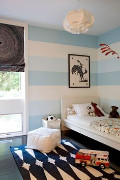 blue stripe walls- red, white, light blue + navy