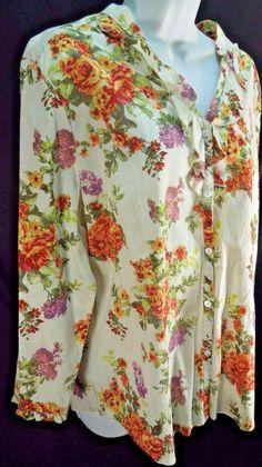 SUPER Cute! Women Sz XL #Cato Floral Print Button Down Ruffled Neckline Ruffled Cuff #Tunic #WomensFashion