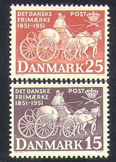 Denmark-1951-Post-Day-Mail-Coach-Horses-Transport-Animals-Nature-2v-set-n37376