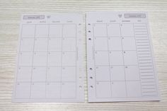 2015 calendar insert A5 month on 2 pages PRINTED by Unavitaacolori