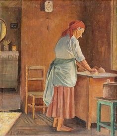 "pintoras: ""Anna Sahlstén (Finnish, 1859 - Woman baking (via Bukowskis) "" Amber Tree, American Poets, Impressionist Paintings, Art Music, Love Art, Art Forms, Female Art, Finland, Oil On Canvas"