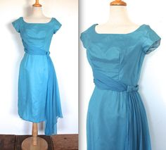 Vintage 1950's Dress // 50s 60s Sky Blue Cocktail Party Dress with Chiffon Draping and Bow // Dream Lover // DIVINE