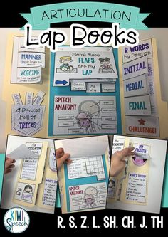 Articulation Lap Books for Later Sounds. R, S, Z, L, SH, CH, J, TH. This lap book is a fun and practical way to not only practice the R, S, Z, L, SH, CH, J, and TH speech sounds, but also learn about the way we produce them. Kiwi Speech on Teachers Pay Teachers. TPT Digital Download. Speech Therapy Resources. Speech/Language. Speech Therapist.