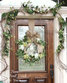 From My Front Porch To Yours: Simple Spring Front Porch// I really like this deco. Might do for our house. Front Door Decor, Wreaths For Front Door, Door Wreaths, Front Doors, Burlap Wreaths, Swags For Doors, Bow Wreath, Wreath Hanger, Seasonal Decor