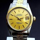 ROLEX MENS DATEJUST TWO TONE 18K/SS 2T QUICKSET W/ ORIG. JUBILEE BAND GOLD DIAL