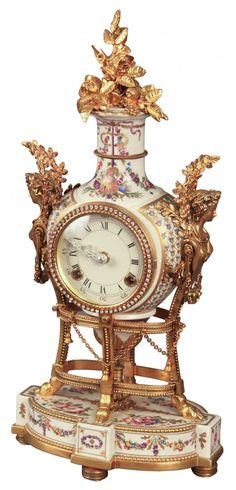 Fabulous French Style Bronze And Porcelain Clock