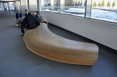 Sculptural Wooden Lobby Bench Like River   Spill