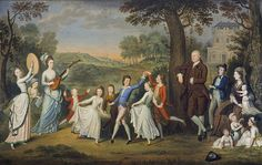 Sir John Halkett of Pitfirrane, 4th Bart (1720-1793), Mary Hamilton, Lady Halkett and their Family (14 children) , 1781, by David Allan. The names of the children are provided by Allan in a key on the back of the canvas.