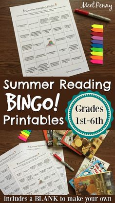 Recommended summer reading as a bingo game. Entice your reader with rewards. Available for 1st - 6th grades. Includes a blank to make your own bingo printable too!