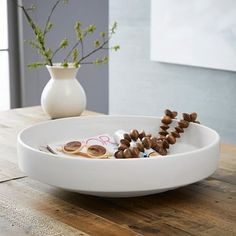 Shop pure white ceramic centerpiece bowl from west elm. Find a wide selection of furniture and decor options that will suit your tastes, including a variety of pure white ceramic centerpiece bowl. White Centerpiece, Low Centerpieces, White Vases, Decorative Objects, Decorative Accessories, Decorative Bowls, Decorative Accents, Table Accessories, West Elm