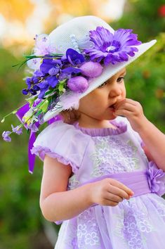 Easter Bonnet Tea Party Hat Easter Hat by AllDressedUpCouture Easter Hat Parade, Somebunny Loves You, Tea Party Hats, Flower Hats, All Things Purple, Girl With Hat, Beautiful Children, Belle Photo, Easter Crafts