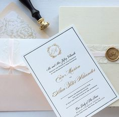 Letterpress and Gold Foil Invitation • Custom Wedding Invitation • Formal Wedding Invitation • Custom Design • Custom Wax Seal • Lace Wedding Invitation • Envelope Liner • Wedding Invitation Design