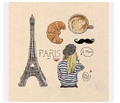 Paris to do list....Eiffel Tower, croissant, coffee.