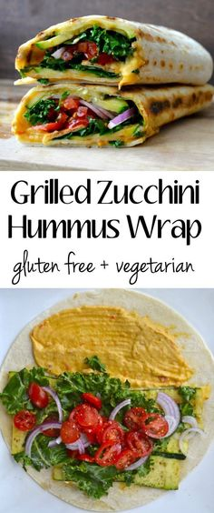 Fresh veggies are grilled to perfection and packed in this Grilled Zucchini Hummus Wrap! The best super healthy flavor packed wrap! #vegetarian #glutenfree