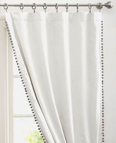 Beautiful Pom Pom Trimmed curtains/double sided with Pom Pom Tiebacks, made with high quality pom pom trim. Price is per panel, many colors