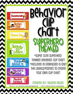 Behavior Clip Chart: Superhero Themed - Valerie Noles - TeachersPayTeachers.com