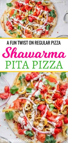 This Lebanese style chicken shawarma pita pizza is made on a grilled pita bread and topped with juicy, tender, well-seasoned chicken & tahini sauce. It's also full of colorful nutritious vegetables that will really make you feel good eating it. Such a great twist on a traditional pizza - your family will love it! #eatgoodfeelgood #pizza #takeaway