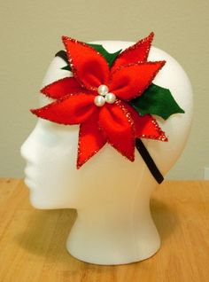 Poinsettia Headband  glitter lined by ANGIECAKEScali on Etsy, $5.00