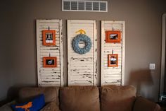 Shutters on wall behind couch. Old Shutters, Picture Hangers, Window Frames, Refinishing Furniture, Home Office Decor, Chalk Paint Furniture, Behind Couch, Wall Behind Couch, Shutters