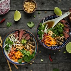 Beef Pho with Beech Mushrooms and Sweet Potato Noodles. Classic Pho with a twist, and so delicious! (Paleo)