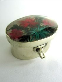 Natural Nahua Natural Pill Boxes set on fine silver overlay German Silver alloy. These are natural flowers collected by the indians; and they are said to have spiritual curative powers.