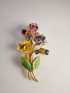 Vintage Enamel Brooch with Rhinestone Accents - Made in Austria - Springtime Bouquet