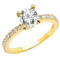 14K Yellow Gold High Poliosh Finish Round-cut 1.50 CTW Equivalent Top Quality Shines CZ Cubic Zirconia Ladies Solitaire Wedding Engagement Ring Band REVIEW