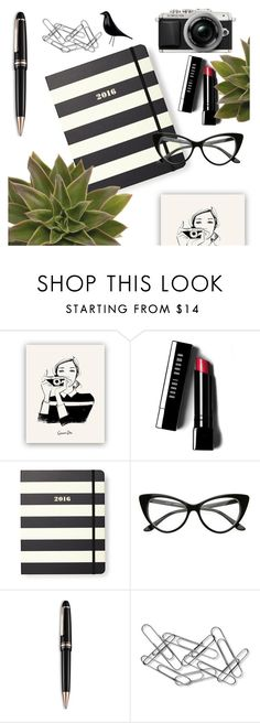 """Organize your desk"" by deeyanago ❤ liked on Polyvore featuring interior, interiors, interior design, home, home decor, interior decorating, Bobbi Brown Cosmetics, Kate Spade, Montblanc and Home Decorators Collection"