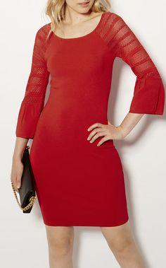 Karen Millen, FLUTED SLEEVE DRESS Red