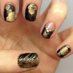 Black Nails with Gold Designs