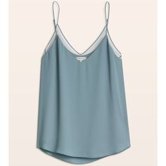 galen camisole Aritzia (78 CAD) ❤ liked on Polyvore featuring blue cami, sheer camisole, blue camisole, long camisole and long cami