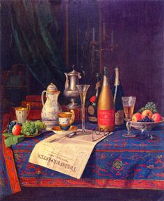 William Michael Harnett - Still Life with Newspaper and Champagne