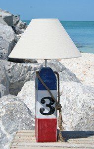 """Wooden Nautical Buoy Lamp 24""""H (Red, White and Blue #3) Hand Painted and Distressed for a Weathered Beach Cottage Look! Coastal Catalog"""
