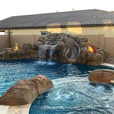 This grotto brings the feel of a hidden lagoon to this backyard!  This grotto brings the Outdoor Rooms, Outdoor Living, Patio Design, Garden Design, Arizona Pools, Lagoon Pool, Deck Builders, Luxury Pools, Pool Designs