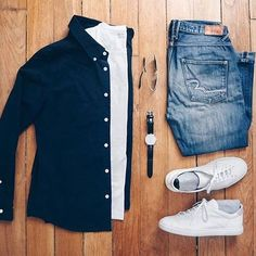 Men's casual blue white combo shirt and jeans.