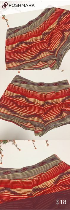 Tribal print flowy shorts Tribal printed flowy shorts. Muted purple, red, and tan flowy shorts. In excellent condition! Super cute for the summer! Dress it up or down! Feel free to ask questions or make an offer! 0104::003 Shorts