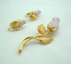 Avon Rose Brooch Pin Clip On Earrings Gold Leaf Set Porcelain Pink 963 #Avon