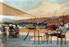 Κοσμαδόπουλος Γιώργος(1895-1967).Μέσα 20ου,Καφέ στο Γιαλό.