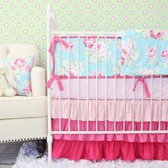 NEW DwellStudio Pink /& White Baby Girl CHECKERED BLOSSOM Fitted Crib Sheet
