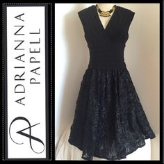"Long black dress of roses Make an offer on this beautiful Adrianna papell rosettes texture fit-and-flare dress designed with a shapely pleated bodice and Empire waist. Lower half of dress features elegant roses texture. Back zip with hook-and-eye closure.Approx. length from shoulder to hem: 45"".Fully lined.Polyester/spandex; dry clean. Necklace not included Adrianna Papell Dresses"
