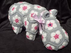 African Flower Hexagon Hippo. I used Egyptian cotton to crochet my hippo. The pattern (by Heidi Bears) is for purchase at: http://www.ravelry.com/patterns/library/happypotamus-the-happy-hippo