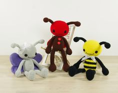 This written crochet pattern includes all instructions needed to make your own bee, butterfly and ladybug.  Includes one PDF file, 16 pages. Pattern